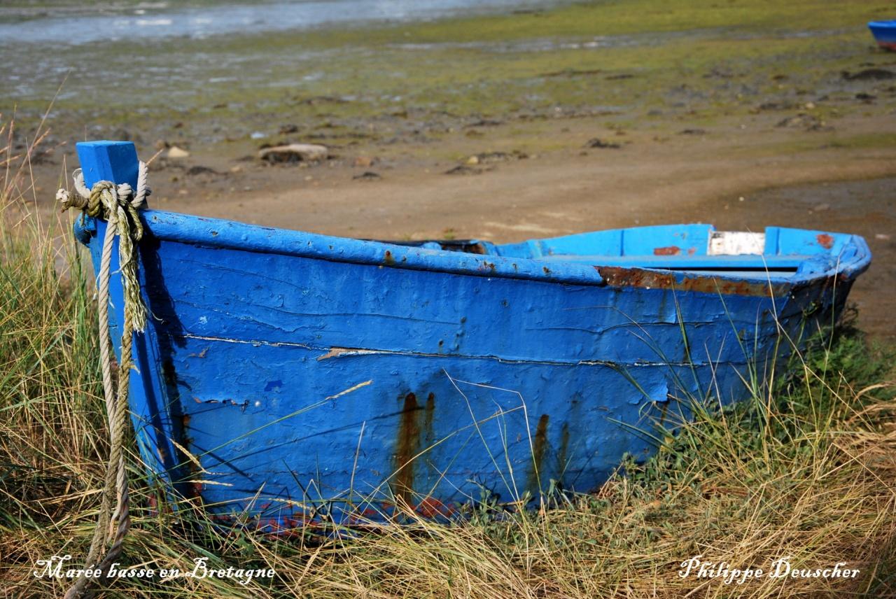 Barque à marée basse en Bretagne sud - Morbihan - Juillet 2009