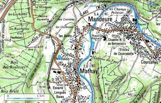 Localisation du village de Mathay dans le Doubs