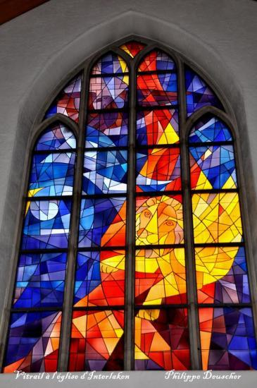 Vitrail à l'église d'Interlaken - Suisse centrale - Février 2010