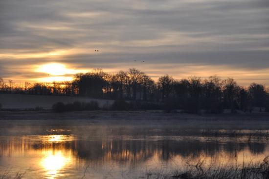 Lever de soleil sur le lac du Mas Chaban - Charente - Février 2012